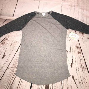 NWT Small Lularoe Randy Top in Gray with Black Spa